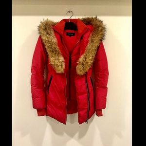 Mackage Cherry Red Adali Fur Fitted Down Coat XS